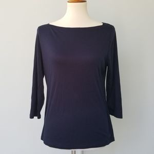 Talbots Navy Career Top Boat Neck Soft Cotton L